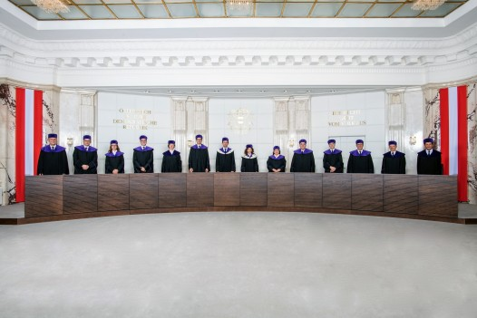Press photo: The 14 Members of the Constitutional Court (Court room) ©VfGH/Doris Kucera